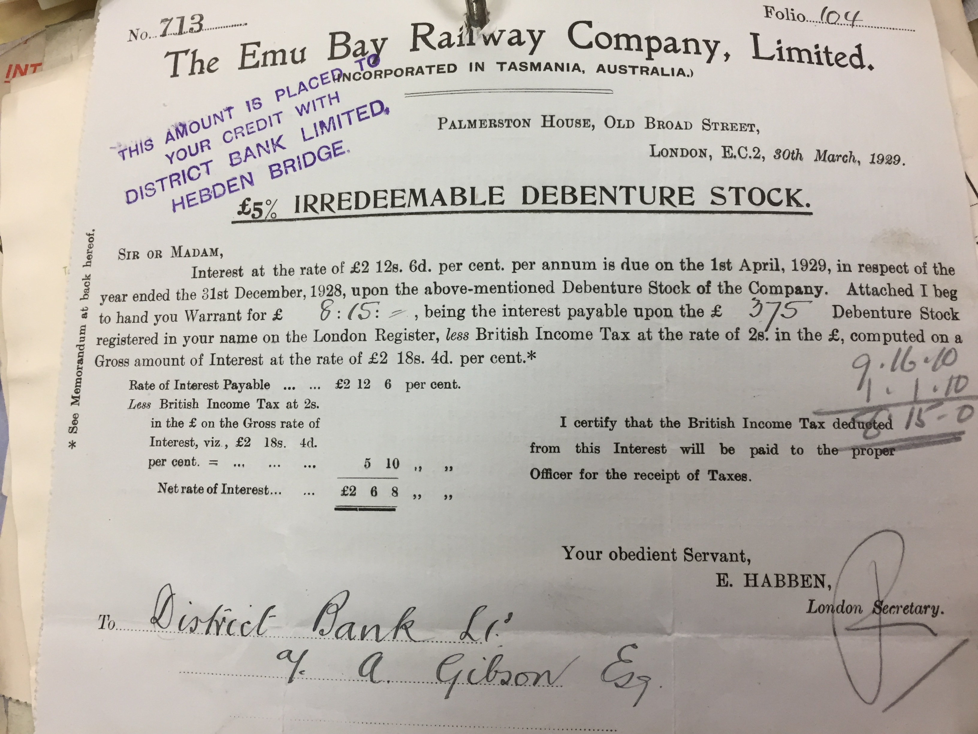 Gibson invested in Emu railroad Australia